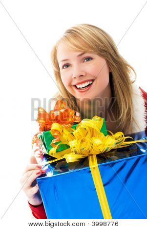 Suprised Girl With A Lot Of Presents