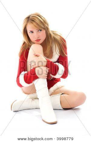 Melancholic Girl Dressed As Santa