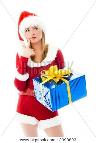 Pretty Girl Choosing Christmas Presents