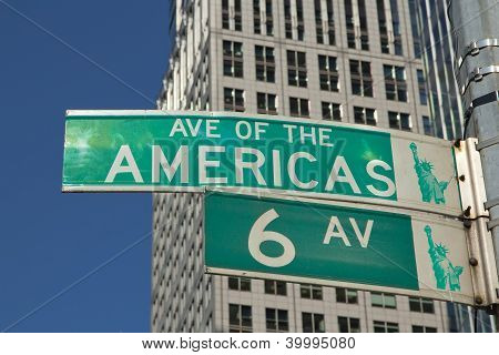 Sign Of Sixth Avenue In Manhattan (nyc, Usa)