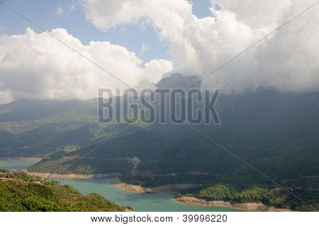 Mountain at water reservoir