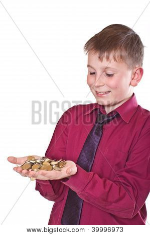 Happy Teenager Holding Money