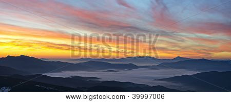 Mountains And Dawn Sky