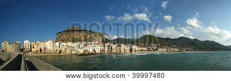 Panoramic View Of The Cefalu Waterfront.  Sicily, Italy
