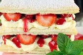 image of cream puff  - Delicious strawberry mille feuille with fresh strawberries and cream - JPG