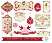 picture of caribou  - Set of Vintage Merry Christmas and Happy New Year Labels - JPG