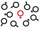 Image Of One Red Female Symbol.