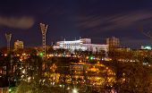 picture of dynamo  - Night view of Dynamo stadium and Government House in Kyiv Ukraine - JPG