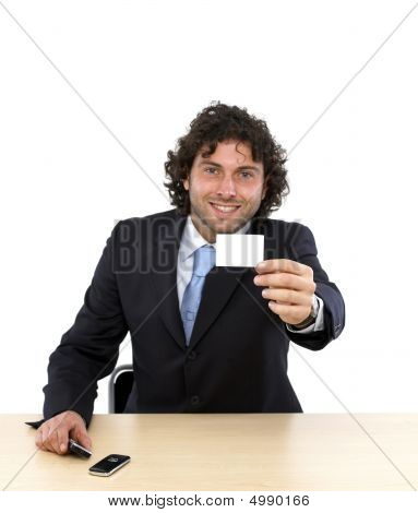 Businessman With Blank Business Card
