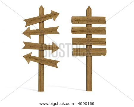 Two Old Wooden Sign Post