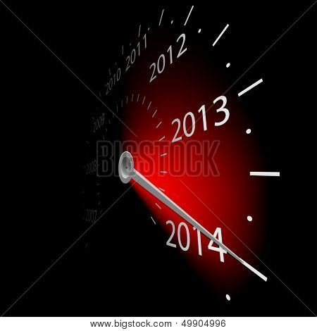 Illustration of speedometer with the date of year. Vector.2014.