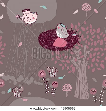 seamless forest pattern with birds in love