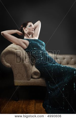 Glamorous Woman On Chaise Lounge