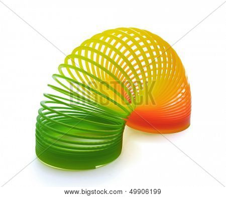 Plastic  spring toy isolated on white