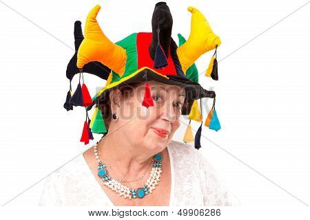 Senior Lady With Jester's Hat
