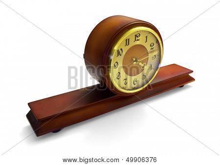 Mahogany antique mantle clock isolated on white