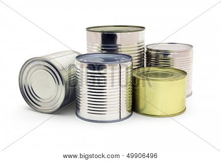 Group of food tin cans isolated on white