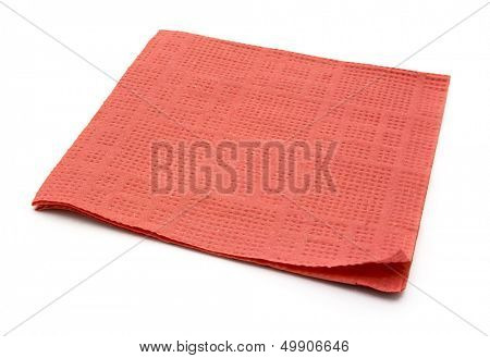 Pink paper napkin isolated on white