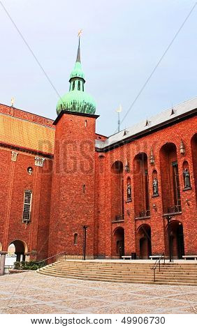 Yard Of Stockholm City Hall, Municipal Council For The City Of Stockholm In Sweden