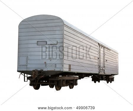 Gray closed boxcar isolated on white