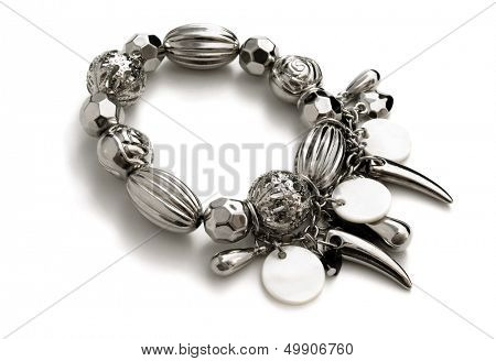 Fashion stainless steel bracelet isolated on white