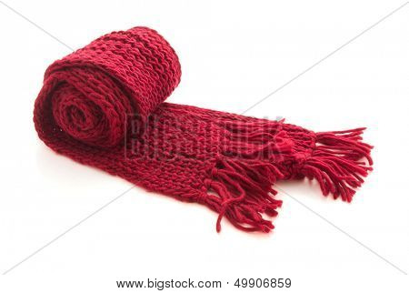 Red wool knitted scarf isolated on white