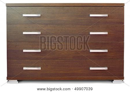 Wooden chest of 4 drawers - front view isolated on white