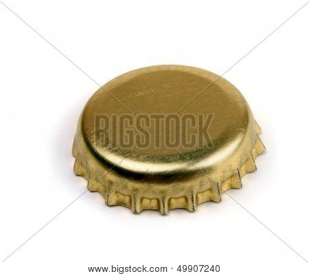 Golden bottle cap  isolated on white