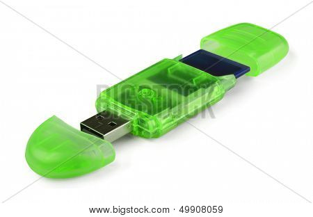Green card reader and memory card isolated on white