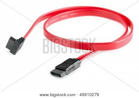 Serial ATA data cable isolated on white