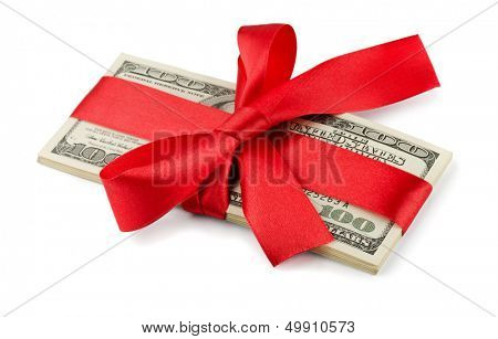 Bundle of US dollars tied with red ribbon isolated on white