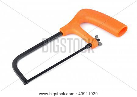 Junior hacksaw with orange plastic handle isolated on white