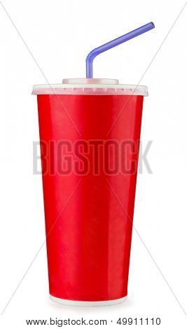 Red disposable paper cup isolated on white