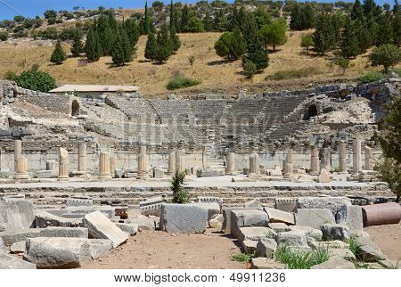 Ruins of ancient odeon (small theatre) in Ephesus. Turkey.