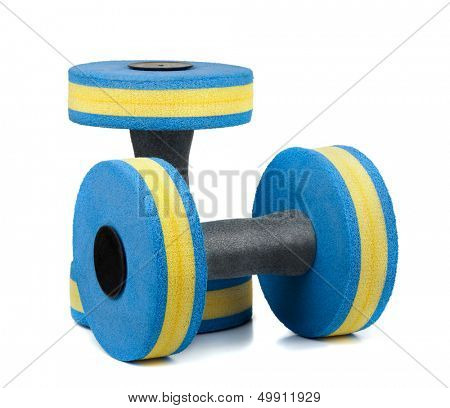 Two plastic dumbbells for water aerobics isolated on white