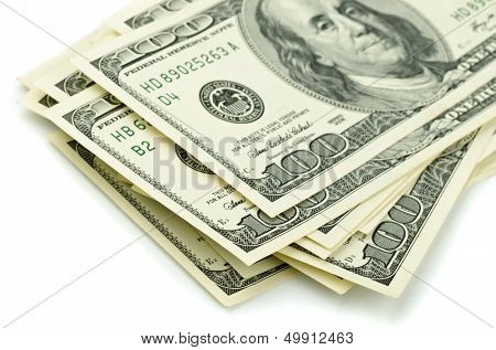 Close up of stack one hundred dollar bills
