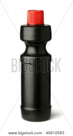 Bottle of liquid drain cleaner isolated on white