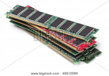 Stack of various RAM modules isolated on white