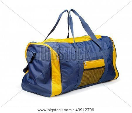 Large nylon sports bag isolated on white