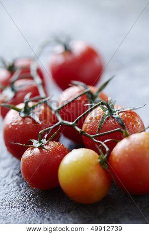 fresh wet tomatoes on wet stone surface