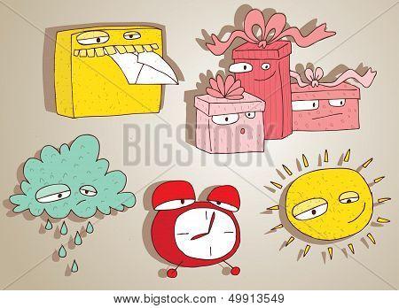Cute Doodle Characters Set