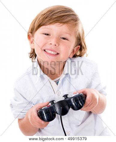 Happy boy playing videogames - isolated over a white background