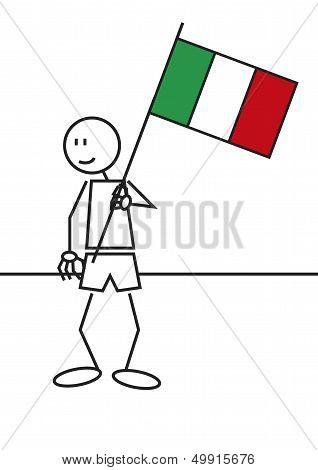 Stick Figure Italy Flag