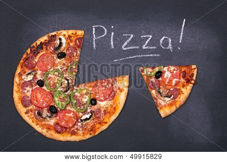 Pizza on chalkboard, with the word Pizza written in chalk.