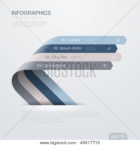 Infographics vector design template. Creative trendy ribbon flat style. Useful for business.