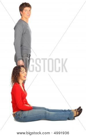 Young Man And Woman Represents  Letter L