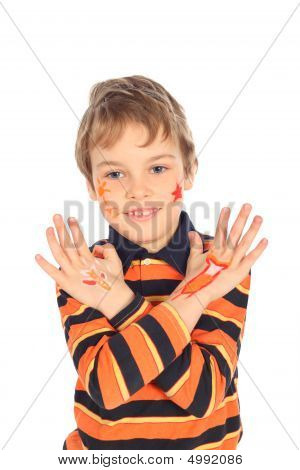 Boy With Painted Crossed Hands