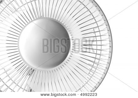 Closeup Of Silver Electric Fan On White Background