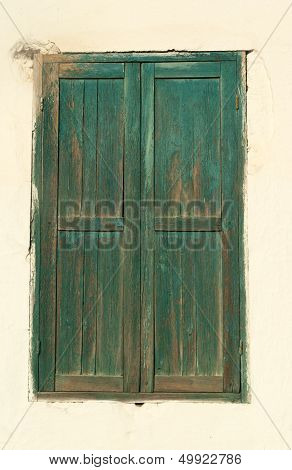 Vintage Closed Window With Shutters