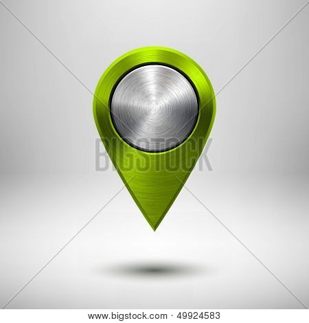Technology Map Pointer with Green Metal Texture